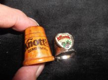 2 X COLLECTABLE THIMBLES KNOTTS BERRY FARM 1 = TREEN WOOD 1= SILVER TONE & CREST